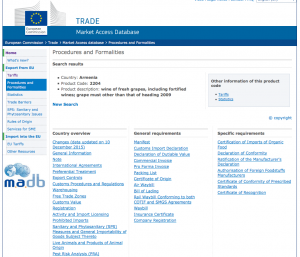 Markets Access Database de la Comisión Europea