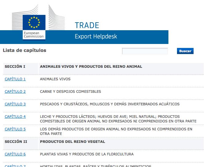 Buscador códigos TARIC Export Helpdesk
